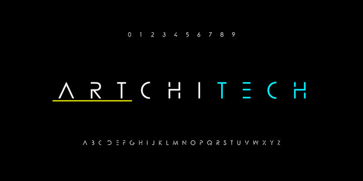 Creative abstract modern digital technology fonts and number set. Minimalist electronic, thin and slim typography font style. Vector illustration
