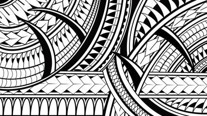 Maori Polynesian pattern illustrations on white background.