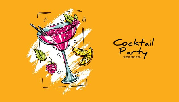 Hand-drawn cocktail on grunge background. Party label, design for cocktail menu or advertising. Decorative print for clothes
