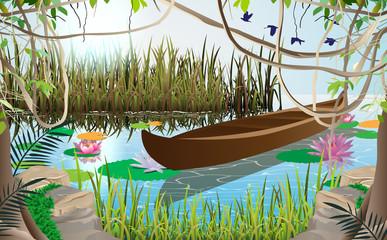 Fond de hotte en verre imprimé Papillons Wooden boat in the swamp in daytime