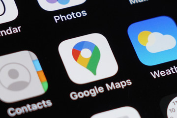 BANGKOK,THAILAND,FEBRUARY 10: View of The New Logo of Google Map Application on February 10,2020