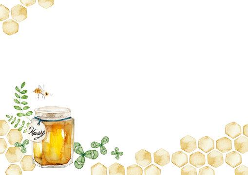 ハチミツ 背景 フレーム 水彩 イラスト