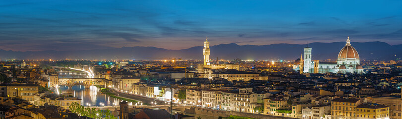 Wall Mural - Panorama of Skyline of Historical city Florence, Tuscany, Italy at dusk