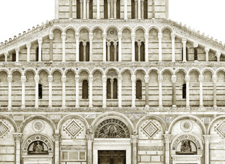 Fototapete - Details of Baptistery of St. John in the Piazza dei Miracoli, Pisa, Tuscany, Italy