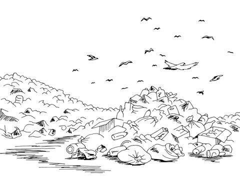 Landfill trash ecology problem graphic black landscape sketch illustration vector