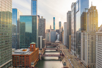 Chicago downtown buildings aerial skyline