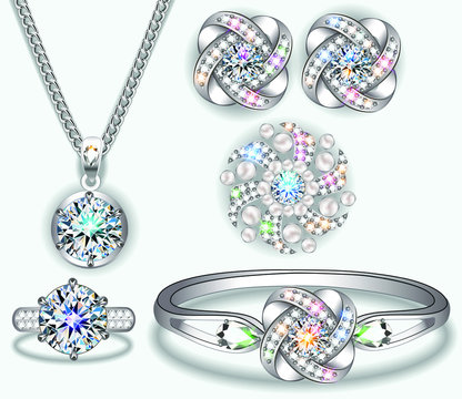 Illustration set of jewelry with pendant, bracelet, ring, earrings and brooch.