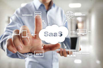SaaS, Software as a Service. Internet and networking concept.