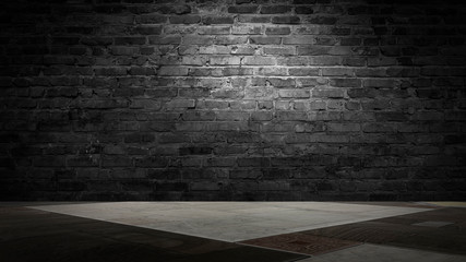 background of an empty black room, a cellar, lit by a searchlight. Brick black wall and wooden floor Fototapete