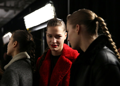 Models wait backstage before presenting creations from the Jason Wu Fall 2020 collection during New York Fashion Week