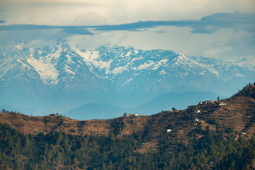 View of Himalayas from Ramnagar, Uttarakhand, India,