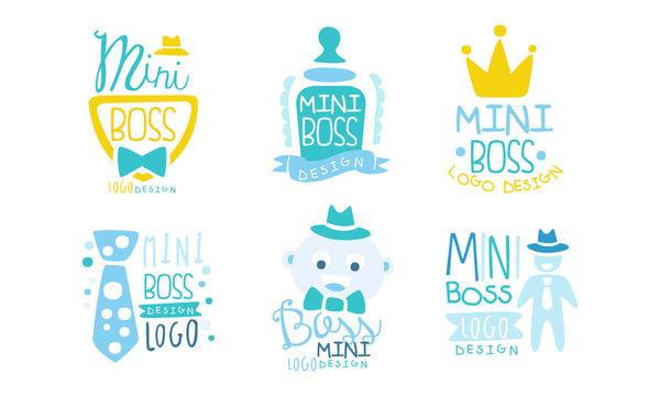 Mini Boss Logo Design Templates Collection, Cute Childish Hand Drawn Labels Vector Illustration
