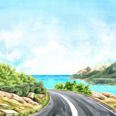Coast road to the sea. Trip concept. Hand-drawn watercolor illustrations and backgrounds.
