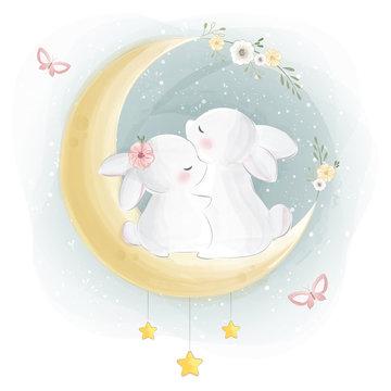 Cute Bunny Couple Sitting On Moon