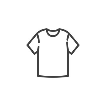 Blank T-shirt line icon. linear style sign for mobile concept and web design. Short sleeve t-shirt outline vector icon. Symbol, logo illustration. Vector graphics