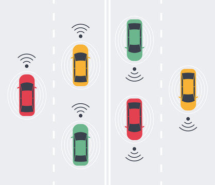 Driverless smart Car, autonomous vehicle, auto with autopilot with wireless waves and road background. Top view. Vector illustration in flat style