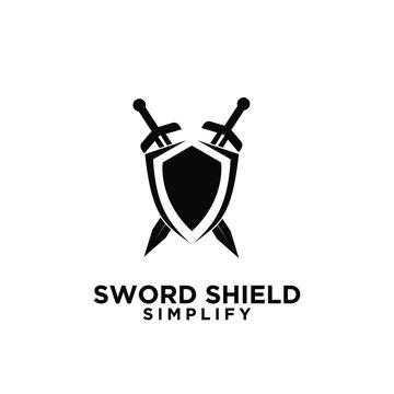 two sword and shield logo icon design vector