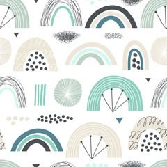 Seamless pattern with abstract rainbows. Vector cute print in pastel colors.