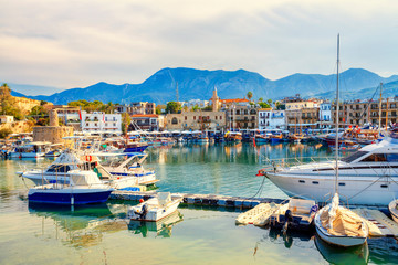 Deurstickers Cyprus Kyrenia (Girne) old harbour on the northern coast of Cyprus.
