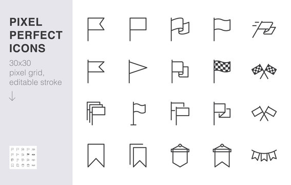 Flag line icon set. Checkered flags, location marker, waving pennant, bookmark, pin minimal vector illustrations. Simple outline signs for web map application. 30x30 Pixel Perfect. Editable Strokes