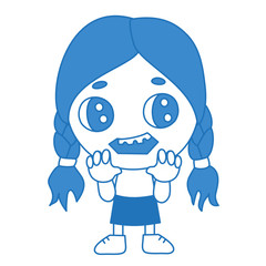 emoji with undead ghoul girl from zombie horror movie with rotten teeth seeking for your brains, simple hand drawn emoticon, simplistic colorful picture, vector art with characters