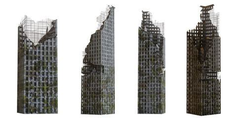 collection of ruined skyscrapers, tall post apocalyptic buildings isolated on white background Wall mural
