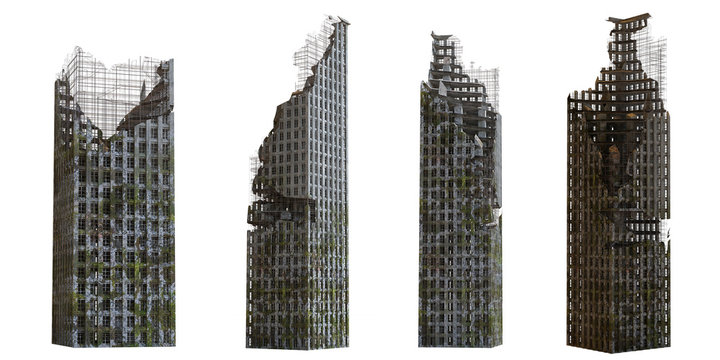 collection of ruined skyscrapers, tall post apocalyptic buildings isolated on white background
