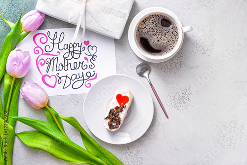 Composition with tasty breakfast for Mother's Day