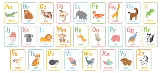 Alphabet cards for kids. Educational preschool learning ABC card with animal and letter cartoon vector illustration set. Flashcards with cute characters and english words placed in alphabetical order.