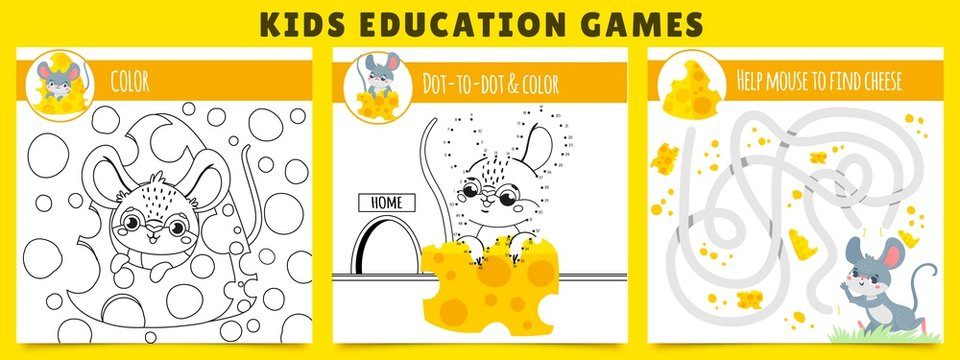 Mouse kids games. Coloring game, mouse find cheese maze and dot by dot cartoon vector illustration set. Collection of educational puzzles or riddles for children with adorable funny rodent animal.