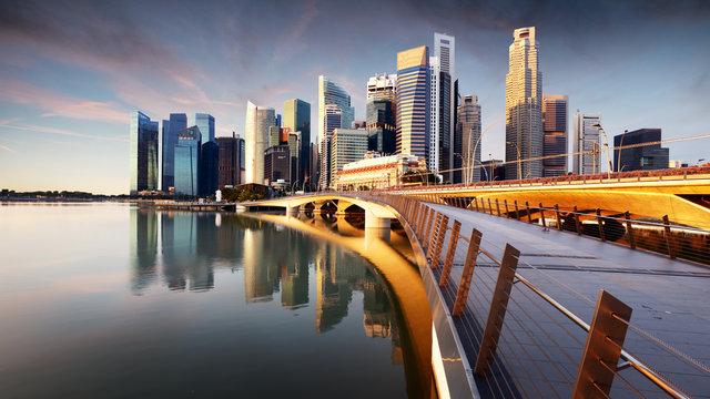 Singapore skyline with skyscrapres - Marina bay