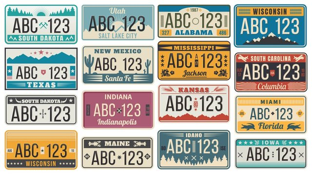 Car number license plate. Retro USA cars registration number signs, Texas, Wisconsin and Kansas license plates vector illustration set. Collection of vintage design elements with names of US states.