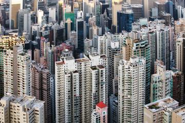 Detail view of residential buiilding in Hong Kong