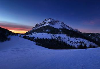 Winter at night in mountain peak, Slovakia