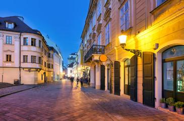 Bratislava old town street at night, Slovakia