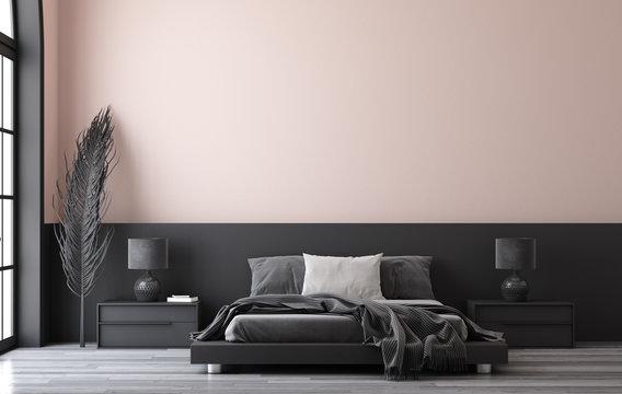 Minimalist modern bedroom interior, 3D render