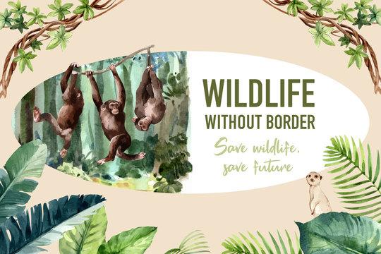 Zoo frame design with monkey, meerkat watercolor illustration.