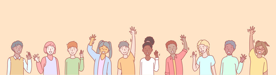 Set of multiethnic children volunteers concept