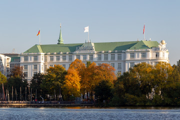 The famous Hotel Atlantic at the Außenalster in Hamburg, Germany.