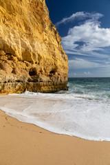 Sandy beach near Carvoeira at the southern coast of the Algarve, Portugal.