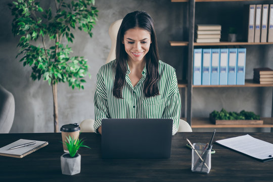 Portrait of her she nice attractive cheerful focused successful lady freelancer psychologist consulting online web site developing at modern industrial brick loft interior style work place station