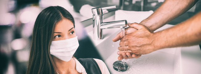 Coronavirus Wuhan China outbreak Asian chinese woman wearing face mask versus man washing hands in hot water rubbing in soap panoramic banner. Fototapete
