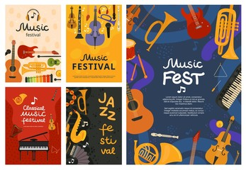 Music festival. Jazz concert, musical instruments poster design. Guitar and piano, saxophone background. Vector open air song event flyers. Illustration banner, musical guitar and piano instrument Wall mural