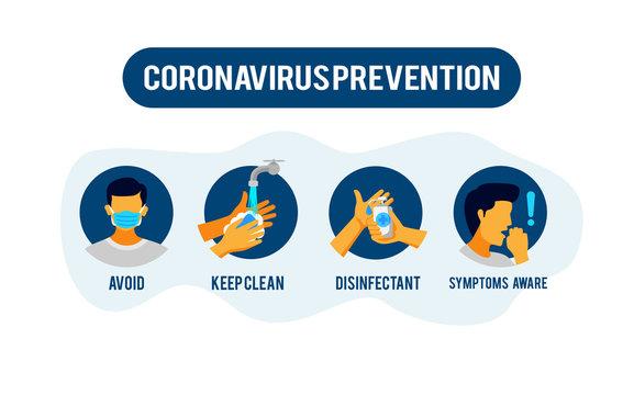 Prevention information illustration related to 2019-nCoV Coronavirus