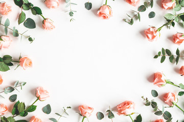 Flowers composition. Rose flowers on white background. Valentines day, mothers day, womens day concept. Flat lay, top view, copy space Wall mural