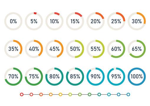 Progress Wheel Pie Charts Infographic