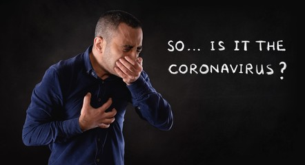 Portrait of a Man Infected by Coronavirus Coughing Hard