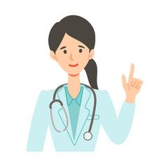 指差し案内する医師医療ドクターのイラスト