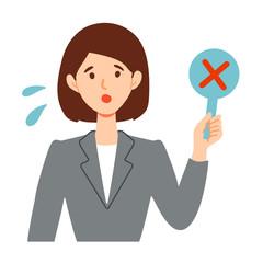 ビジネススーツ女性の不正解イラスト