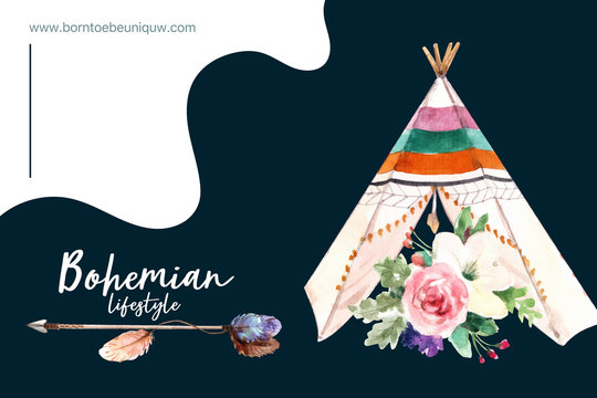 Bohemian frame design with flower, tent, arrow watercolor illustration.